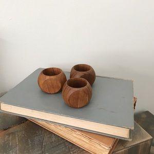 Vintage Set of 3 Mid Century Wood Napkin Rings